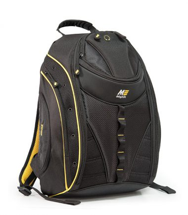Express Laptop Backpack - Black / Yellow - Pass-Through Port for iPods and other audio players