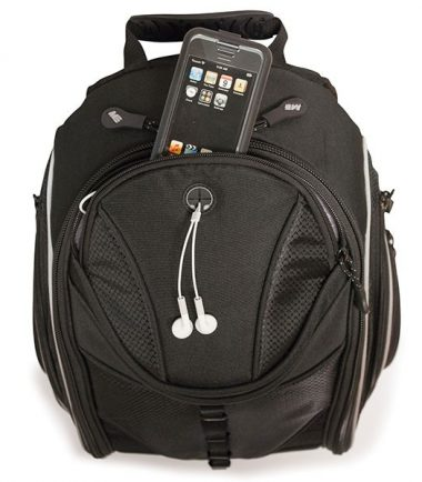 Express Laptop Backpack - Black / Red - iPod / iPhone / MP3 Player Pocket