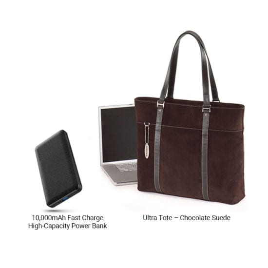 Ultra Tote Chocolate Suede + 10,000mAh Fast Charge Power Bank