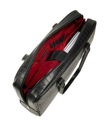 Milano - Black (Large) (Laptop Bag) - Fashionable red interior lining , Zippered Interior Pocket