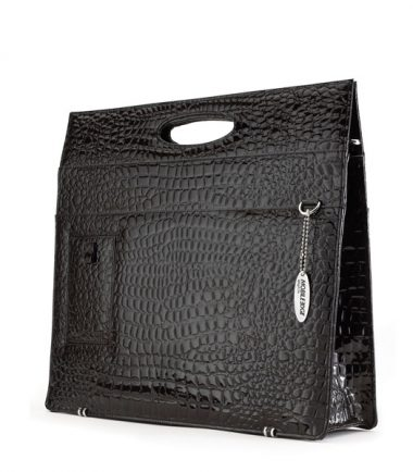 Ladies Briefcase - Black Faux-Croc-0