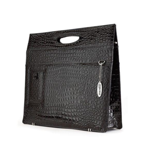 Ladies Briefcase - Black Faux-Croc-0