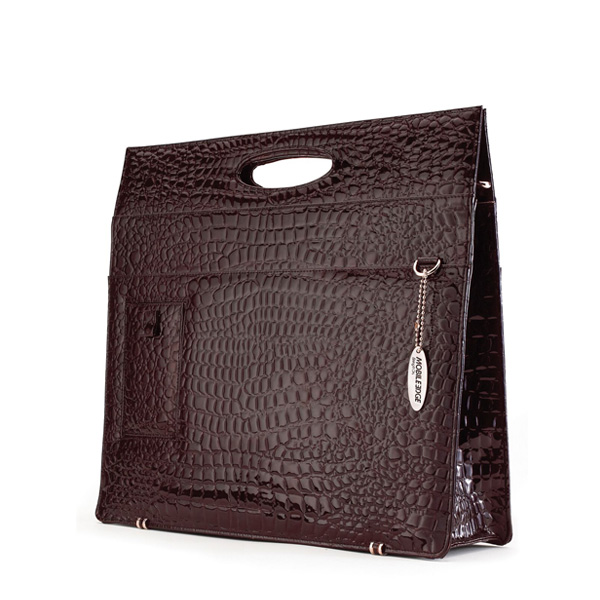 Ladies Briefcase - Espresso Faux-Croc