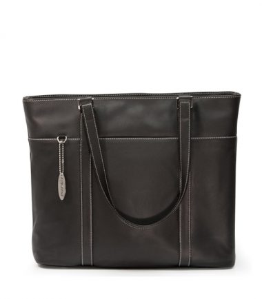 Ultra Tote - Black Leather (Laptop Bag) - Easy Access Exterior Ticket Pocket