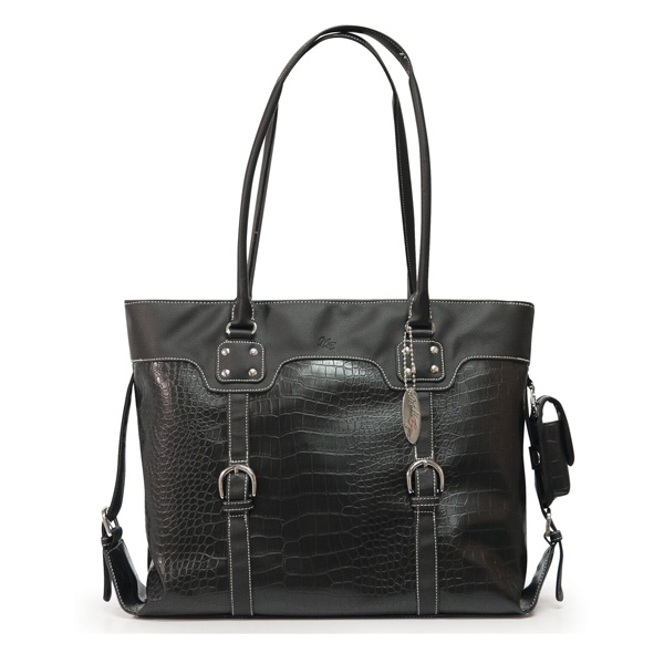 Signature Laptop Tote - Black Faux-Croc