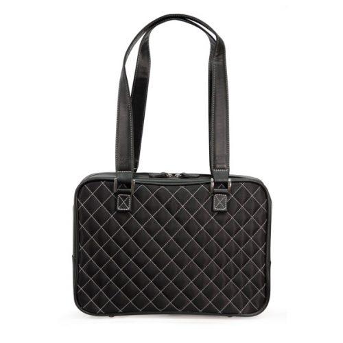 Monaco Handbag - Quilted Black / White-0