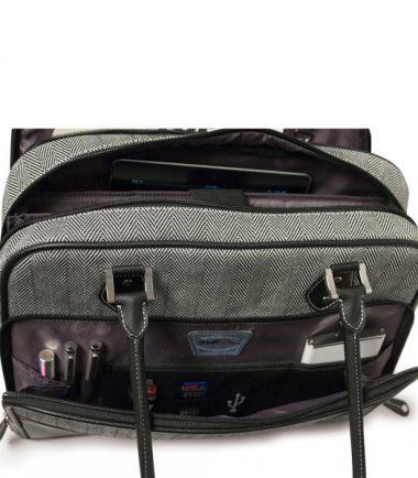 Classic Herringbone Laptop Tote-20233