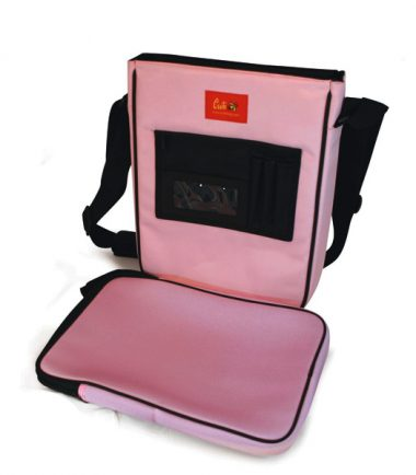 Maddie Powers Hipster / Retro Laptop Messenger Bag (Pink) - Removable laptop protection sleeve