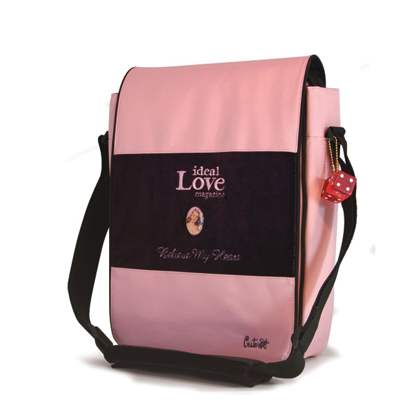 Maddie Powers Hipster / Retro Laptop Messenger Bag (Pink)