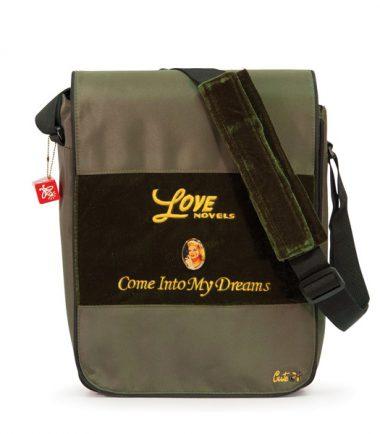 Maddie Powers Hipster / Retro Laptop Messenger Bag (Green) - Padded shoulder strap