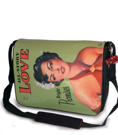 Maddie Powers Green Retro Laptop Messenger Bag