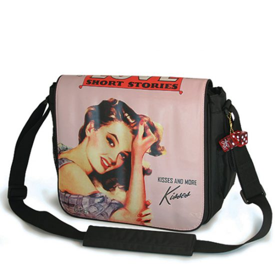 Maddie Powers Pink Sheba Retro Laptop Messenger Bag