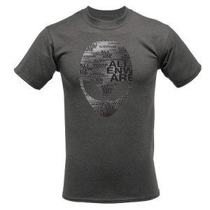 Alienware Arena Grey Heather Alien Font Gaming Gear T-shirt - Size L-0