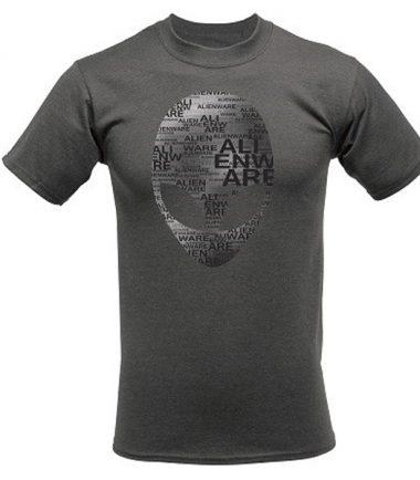 Alienware Arena Grey Heather Alien Font Gaming Gear T-shirt-0