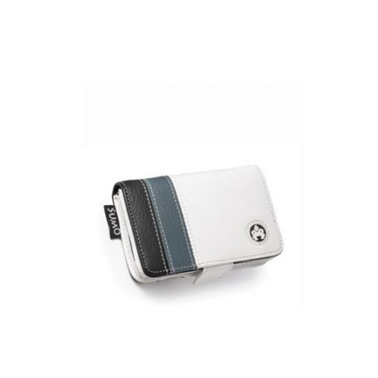 iPod 5G Leather Case - Striped - White-0