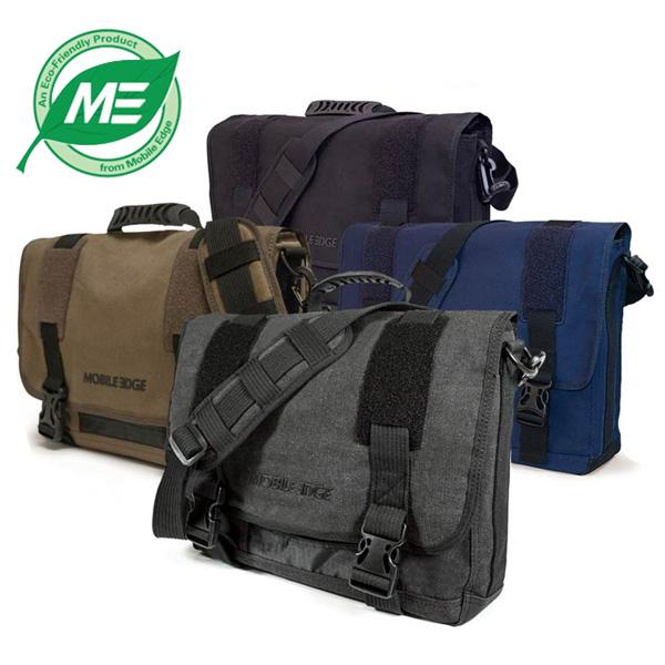 "Mobile Edge MECME9 17.3/"" Eco-Friendly Canvas Messenger Bag Olive"