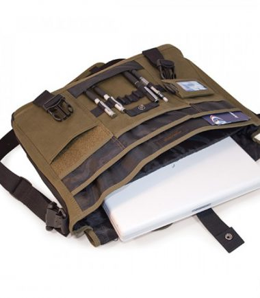 MECME9 - Eco-Friendly Laptop Messenger (Olive) - Padded Computer Compartment