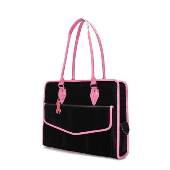 Komen Geneva - Black / Pink MicroFiber Laptop Tote