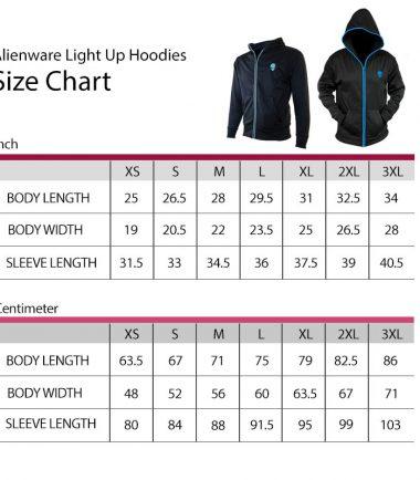 Alienware Lightup Zip Hoodie Size Chart