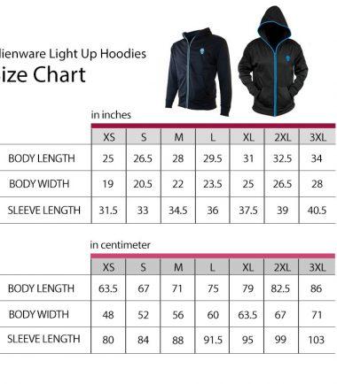 Alienware LightUp Hoodie Size Chart