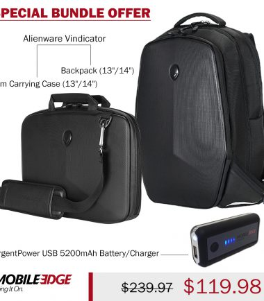 "Bundle -Alienware Vindicator 13""/14"" Backpack and Slim Carrying Case plus UrgentPower USB 5200mAh Battery/Charger"