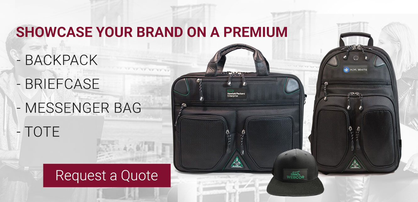 showcase your brand on backpack briefcase messenger laptop cases