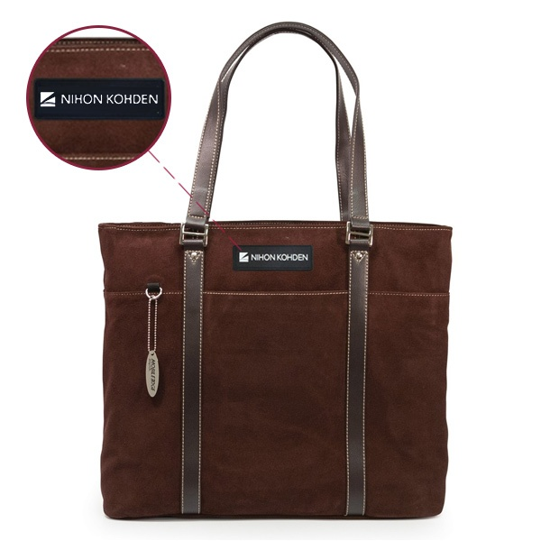 Ultra Tote – Chocolate Suede - Sample Logo - Rubber Patch