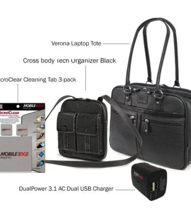 Verona Laptop Tote plus Crossbody Tech Organizer, DualPower 3.1 AC Dual USB Charger, and MicroClear Three Pack - Bundle Offer
