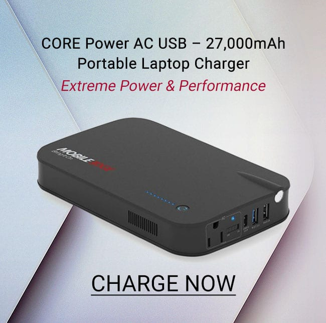 Mobile Edge Core Power AC USB - 27,000mAh Portable Laptop Charger- Charge Now - Side Banner