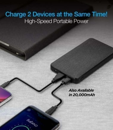 10,000mAh 18W PD+QC Fast Charge High-Capacity Fabric Power Bank Power Delivery