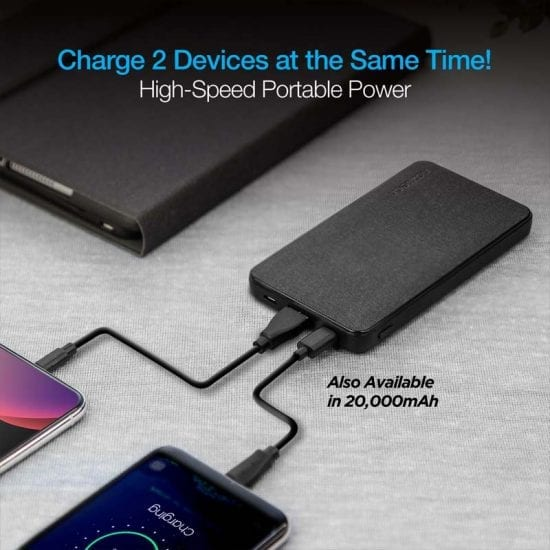 10,000mAh 18W PD+QC Fast Charge High-Capacity Fabric Power Bank-High Speed Portable Power