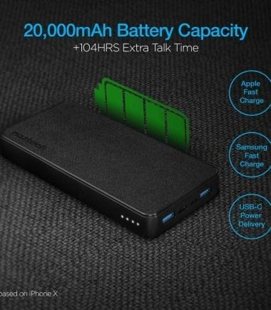 20,000mAh 18W PD+QC Fast Charge High-Capacity Power Bank