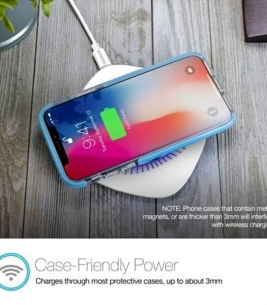 Power Pad Qi Wireless Fast Charger - Case Friendly Power White
