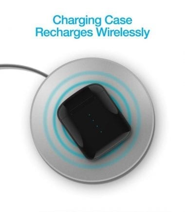 Xpods True Wireless Earbuds with Wireless Charging Case - Case Recharges Wirelessly - wireless charger sold separately Black