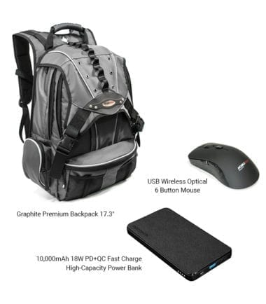 Bundle Offer – Graphite Premium Backpack, 10,000mAh 18W PD+QC Fast Charge Power Bank, and Rechargeable Wireless Optical 6 Button Mouse