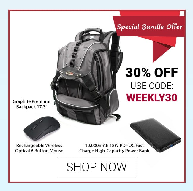 Special Bundle Offer – Graphite Premium Backpack, 10,000mAh 18W PD+QC Fast Charge Power Bank, and Rechargeable Wireless Optical 6 Button Mouse
