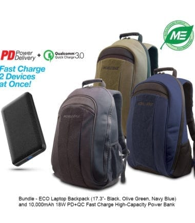 Bundle Offer - ECO Laptop Backpack -17.3 inch - Black, Olive Green, Navy Blue - and 10,000mAh Power Bank