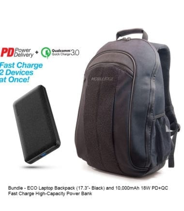 Bundle Offer - ECO Laptop Backpack Black 17 inch and 10,000mAh Power Bank