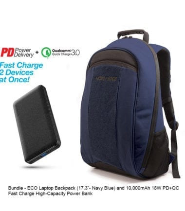 Bundle Offer - ECO Laptop Backpack Navy Blue 17 inch and 10,000mAh Power Bank